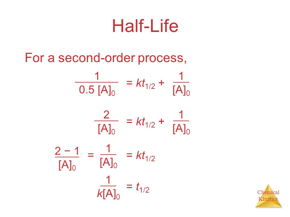 Half-Life For a second-order process, 1 0.5 [A]0 = kt1/2 + [A]0 2 [A]0